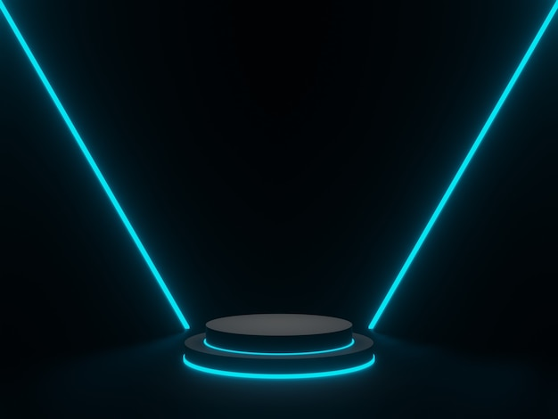Fase geometrica nera resa 3d con luce al neon bianca