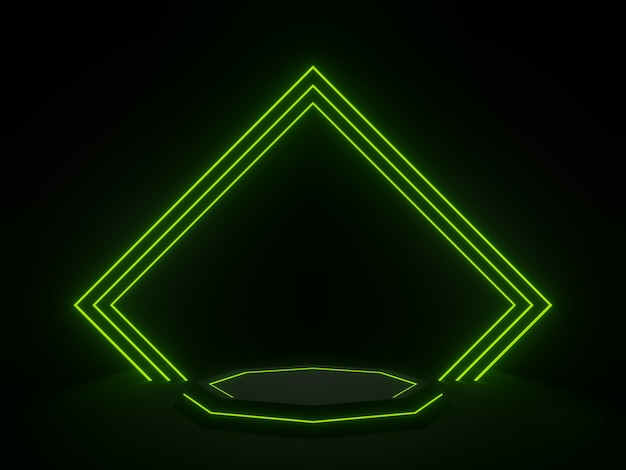 Supporto geometrico nero reso 3d con luce al neon verde. sfondo scuro