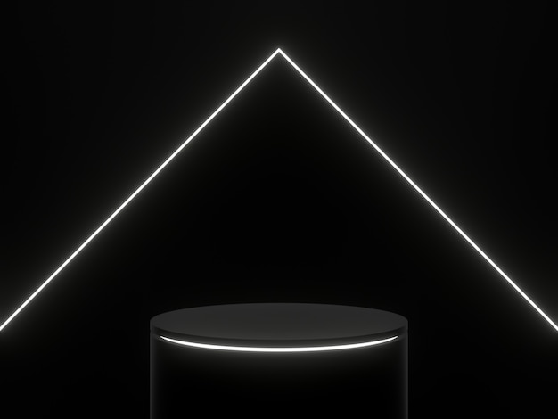 3d ha reso il podio nero con luci bianche. supporto del prodotto.