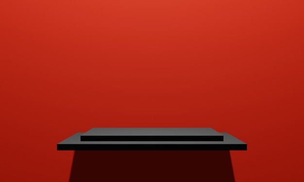 Mensola del prodotto nero rendering 3d con sfondo muro rosso