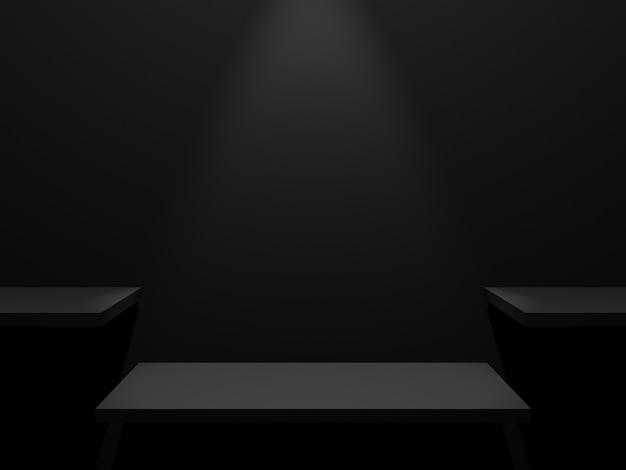 Scaffale del prodotto nero rendering 3d