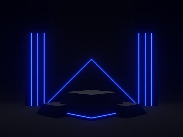Rendering 3d podio scientifico nero con luce blu. sfondo scuro.