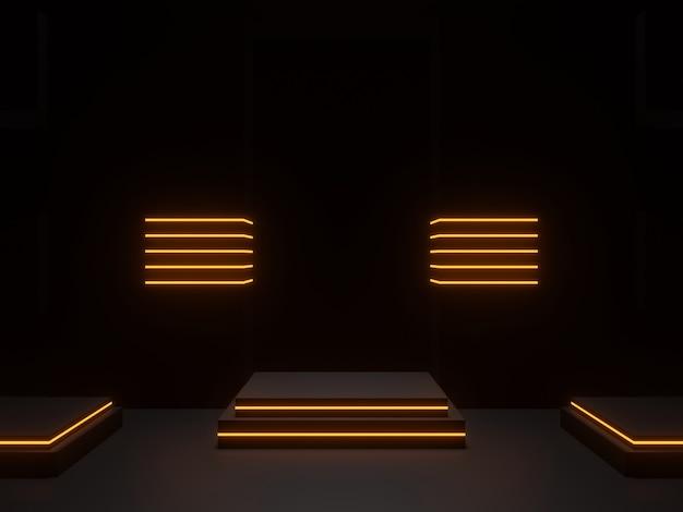 3d ha reso il podio scientifico nero con luci al neon dorate