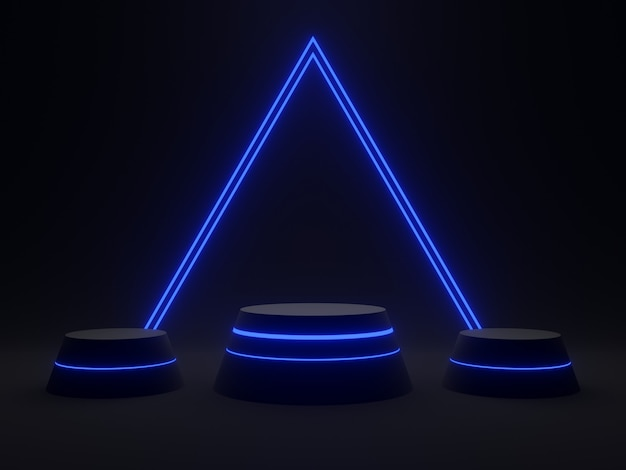3d rendering scientifico nero con luce blu. sfondo scuro.