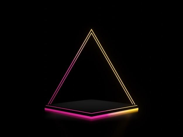 Supporto nero reso 3d con luci al neon sfumate sfondo scuro