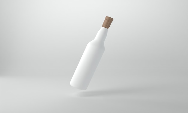 Modello di mockup di bottiglie con rendering 3d