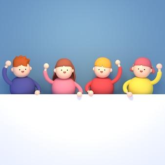 Rendering 3d bambini del fumetto che tengono una lavagna bianca vuota su sfondo blu