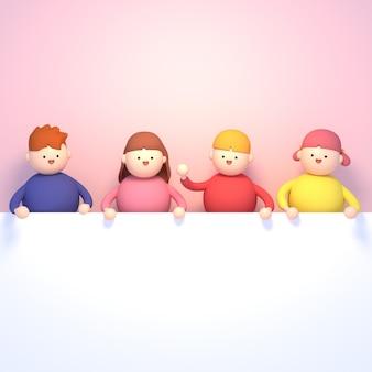 Rendering 3d bambini del fumetto che tengono una lavagna bianca vuota su sfondo rosa