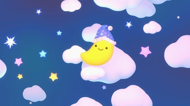 Luna sorridente del fumetto resa 3d che indossa un berretto da notte nel cielo di notte design carino ninna nanna