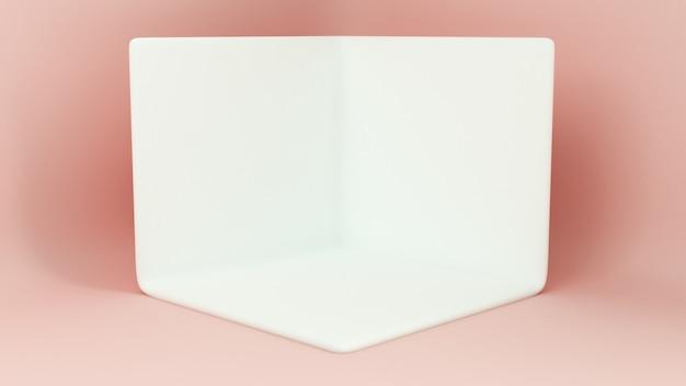 Passerella di rendering 3d. piattaforme per la presentazione del prodotto, composizione mokap minimalista