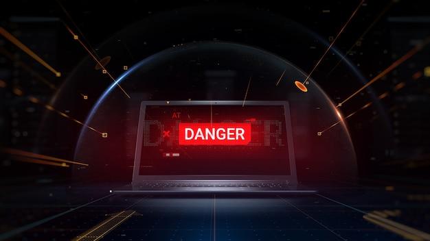 Priorità bassa di concetto resa 3d. hacker attacca il notebook. le particelle simboleggiano le minacce che colpiscono lo scudo sferico protetto che copre il computer digitale.
