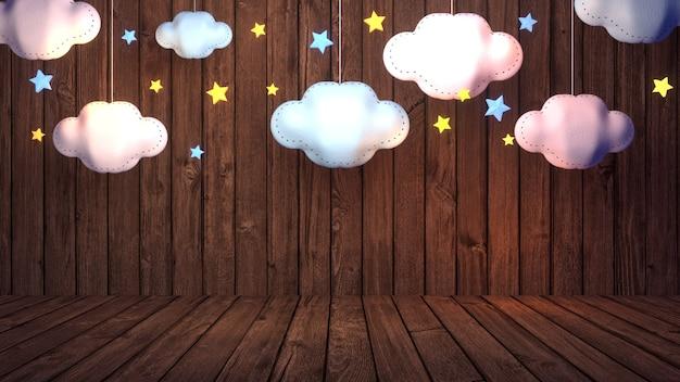 3d ha reso le stelle e la parete di legno dei mestieri della carta della nuvola del tessuto
