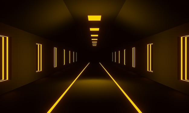 3d ha reso il corridoio futuristico. tunnel scuro con luci gialle.
