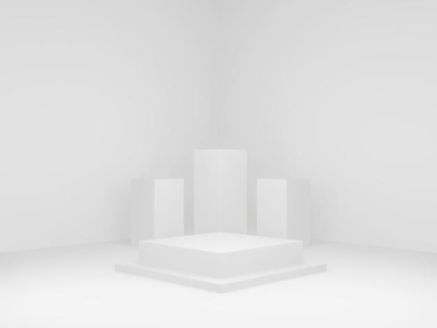 Fase geometrica resa 3d. sfondo angolo bianco