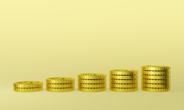 Monete d'oro 3d rendering. guadagno in denaro.