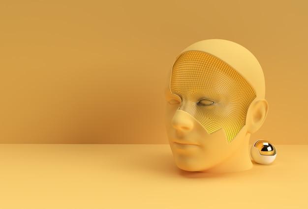3d reso illustrazione di un disegno del volto umano.