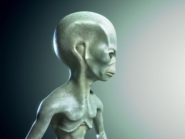 Illustrazione rendering 3d di un personaggio alieno umanoide