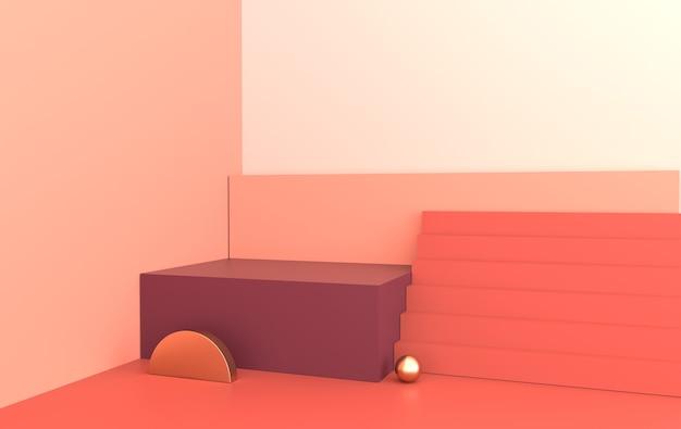 Interni renderizzati in 3d con podio sul pavimento set di scale per piattaforme per la presentazione del prodotto