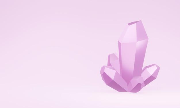 Cristallo rosa reso 3d. quarzo rosa.