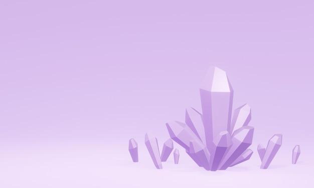 Cristallo viola reso 3d. quarzo ametista.