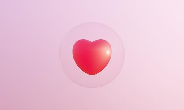 3d rendering cuore rosso e bolle su sfondo rosa.