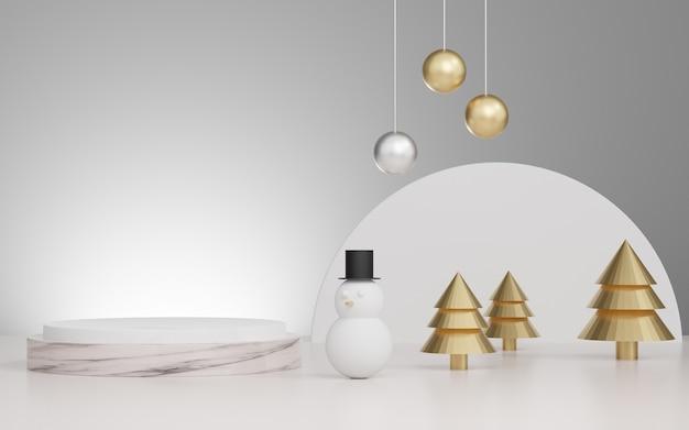 Studio rendering 3d mock up sfondo natalizio per la presentazione del prodotto