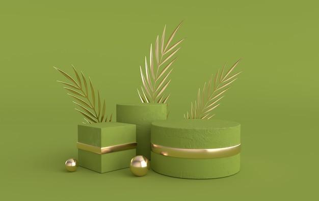Studio 3d renderizzato con forme geometriche per la presentazione del prodotto
