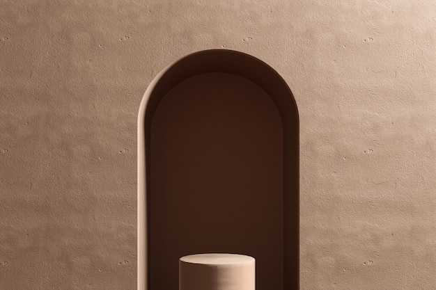 Studio di rendering 3d con forme geometriche, podio sul pavimento. piattaforme per la presentazione del prodotto, mock up di sfondo.