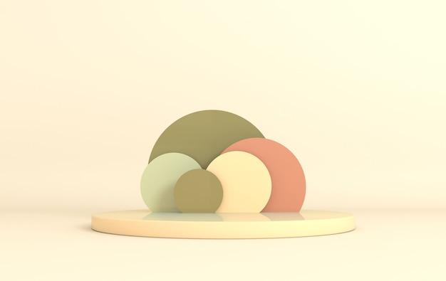 Studio renderizzato in 3d con podio di forme geometriche sul pavimento