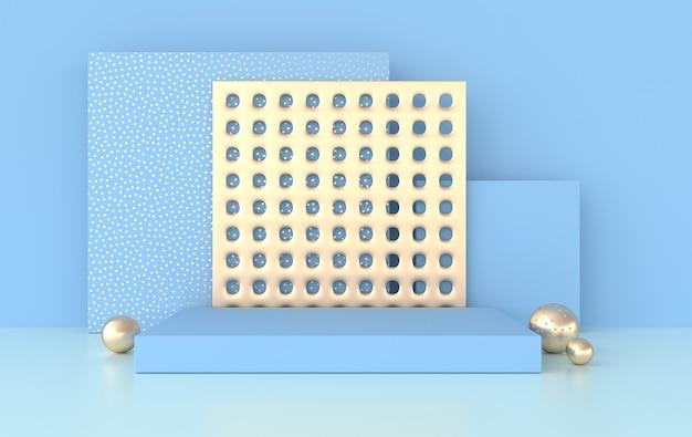 Studio 3d renderizzato con podio sul pavimento piattaforme per la presentazione del prodotto