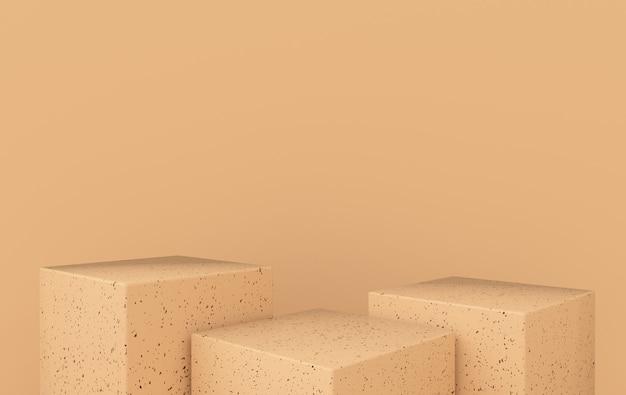 Studio renderizzato in 3d con podio piattaforme per la presentazione del prodotto mock up background