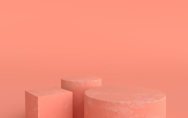 Studio renderizzato in 3d con piattaforme a podio per la presentazione del prodotto