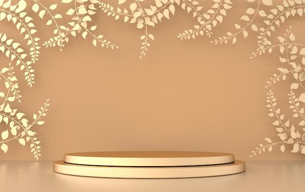 Studio 3d renderizzato con rami e foglie primaverili e piattaforme podio per la presentazione del prodotto