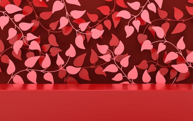 Studio renderizzato in 3d con rami e foglie primaverili e podio per la presentazione del prodotto