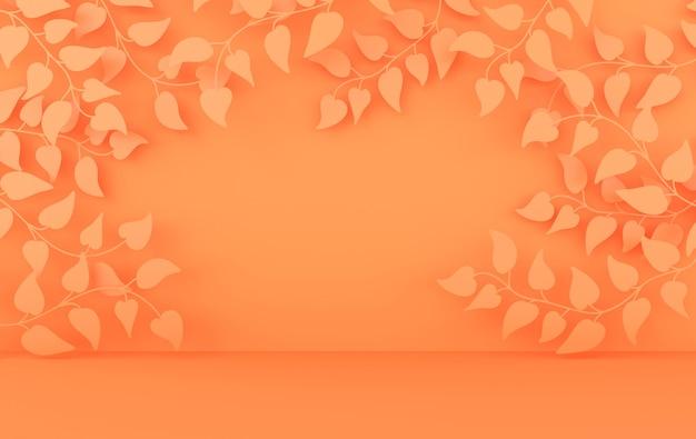 Studio 3d reso con rami e foglie primaverili e podio