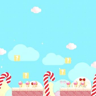 Rendering 3d il mondo delle caramelle dolci stile classico dei videogiochi retrò