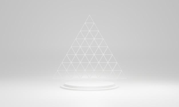 Podio di fase geometrico bianco rendering 3d