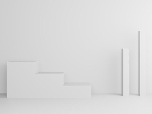 Supporto geometrico bianco rendering 3d