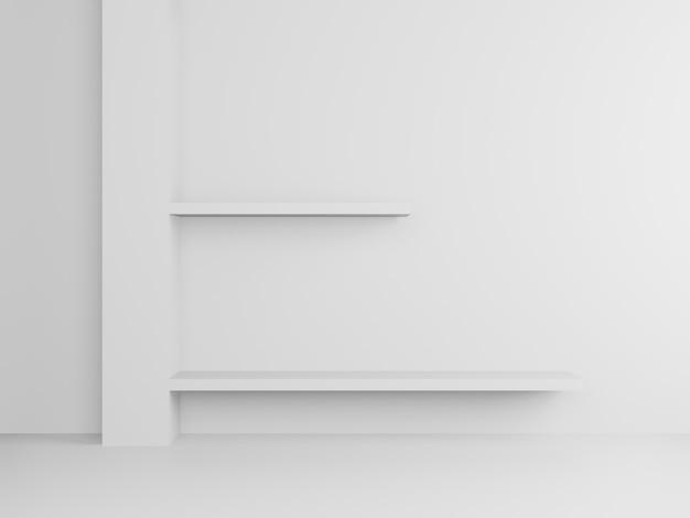 Supporto e mensola bianchi resi 3d