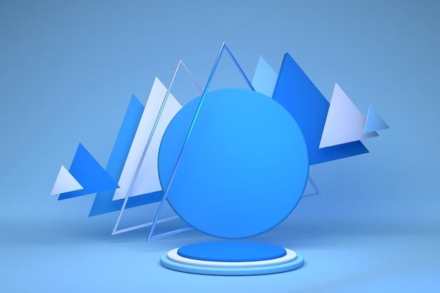 3d rendering con forme geometriche podio vuoto sul pavimento piattaforme per lo sfondo di presentazione del prodotto composizione astratta nei colori blu e bianchi dal design minimale