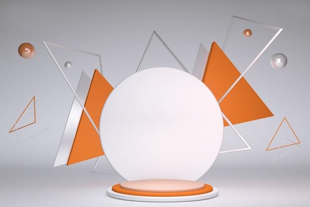 3d rendering con forme geometriche podio vuoto sul pavimento piattaforme per lo sfondo di presentazione del prodotto composizione astratta nei colori arancio e bianco dal design minimale