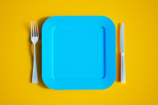 Rendering 3d di un piatto quadrato vuoto con coltello e forchetta