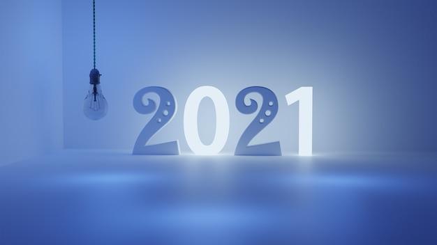 Rendering 3d del 2021 e una luce