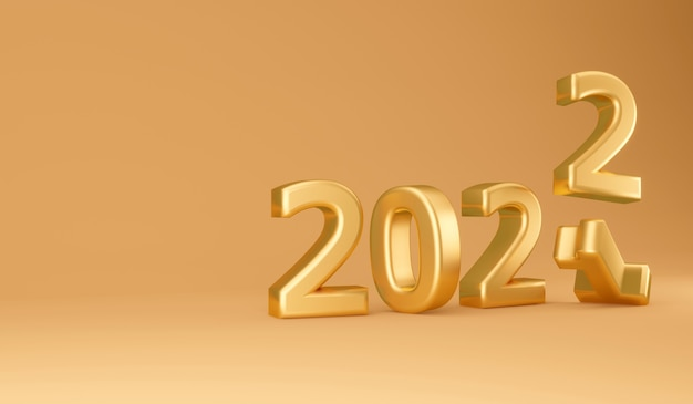 Il rendering 3d del 2021 sostituisce il numero di lettere in grassetto dorato del 2022 nel concetto di tema dorato del nuovo anno. rendering 3d. illustrazione 3d.