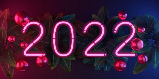 Rendering 3d 2022 luce al neon incandescente in una stanza buia celebrazione del capodanno luce rosa e blu glow