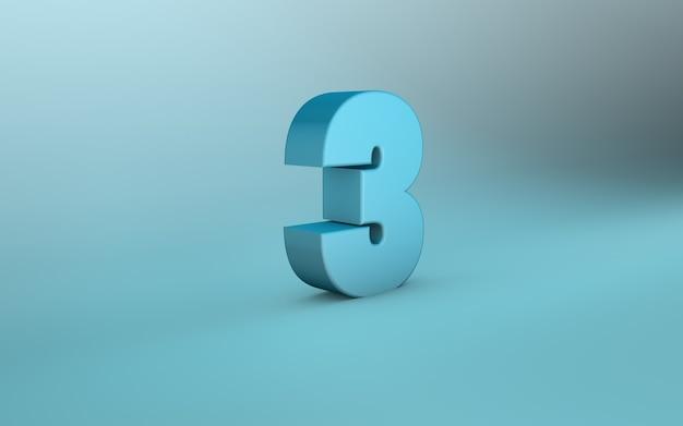 Rendering 3d di 3 numeri 3d lettering tre numeri