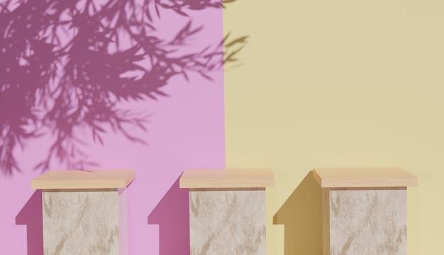Rendering 3d di 3 modelli di podio in legno con ombre di foglie foto premium