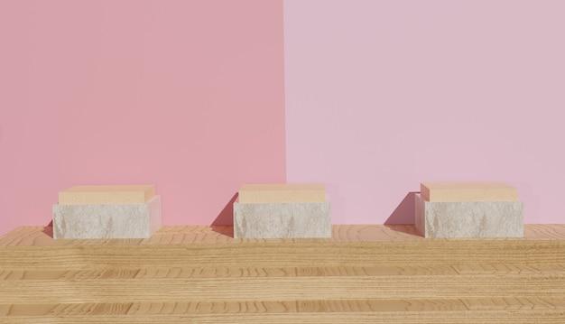 Rendering 3d di 3 modelli di podio in legno con pavimento in legno e sfondo colorato foto premium