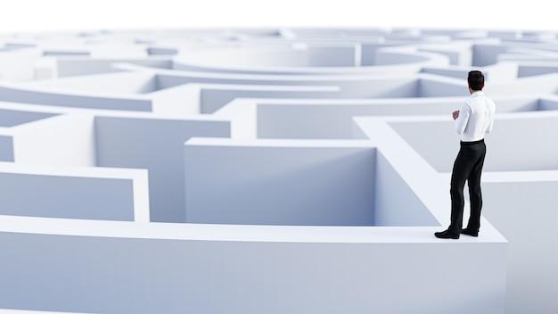 Rendering 3d. uomo d'affari 3d che sta davanti al labirinto concetto di successo