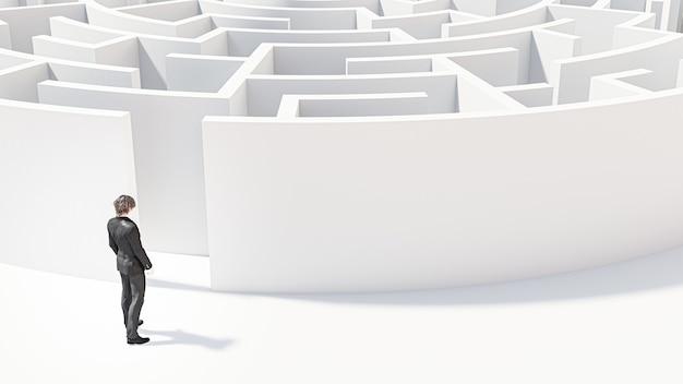Rendering 3d. uomo d'affari 3d in piedi davanti al labirinto